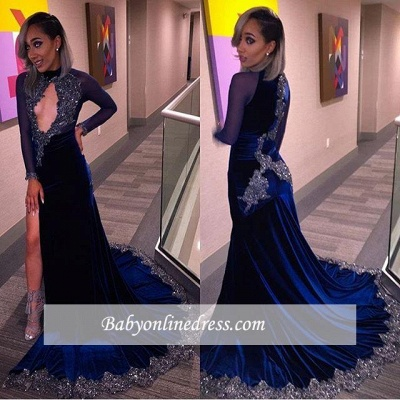 Elegant Halter Sequins Key-Hole Long-Sleeves High-Slit Prom Dress UK CC0030 BK0_1