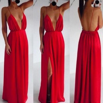 Elegant Red Spaghetti Straps Prom Dress UK Long Deep V-Neck_3