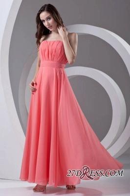 Chiffon Long Watermelon Ruched Strapless Sexy Bridesmaid Dress UK_5