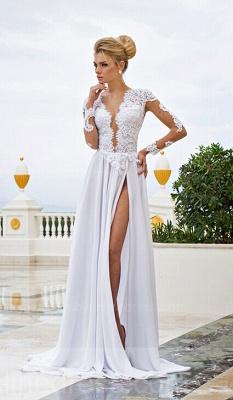 White Lace  Wedding Dresses UK V-Neck Side Slit Long Sleeve Bridal Gowns_4