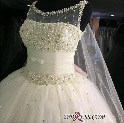 Tulle Sleeveless Beadss Gorgeous Princess Pearls Wedding Dress_2