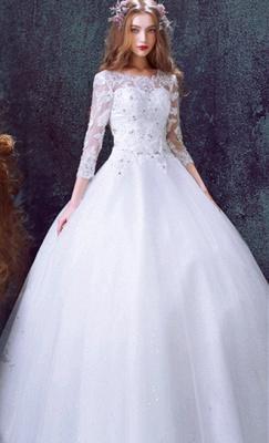 Romantic Tulle Lace Beadss Wedding Dress 3/4-Long Sleeve Princess_1