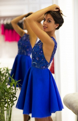 Delicate Royal Blue Mini Homecoming Dress UK Straps Sleeveless_1