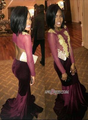 Mermaid Scoop Gold-Applique Sexy Long-Sleeves Velvet Prom Dress UKes UK_3
