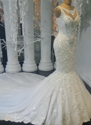Glamorous Sexy Mermaid Sleeveless Wedding Dresses UK Floral Appliques Bridal Gowns with Crystals_1