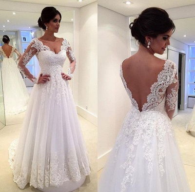 Long Sleeves Lace Beach Wedding Dresses V Neck Open Back Floor Length Bridal Gowns_2