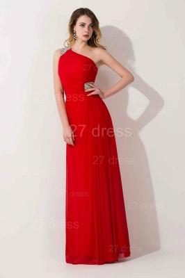 Elegant Chiffon A-line Chiffon Evening Dress UK One Shoulder Crystals_1