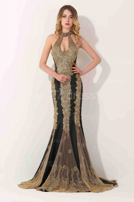 Gorgeous High-Neck Backless Evening Dress UK Mermaid With Appliques Beadings_1