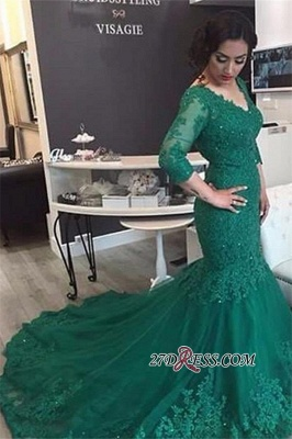 Court-Train Mermaid Newest Tulle Appliques V-Neck Prom Dress UK BA4275_2