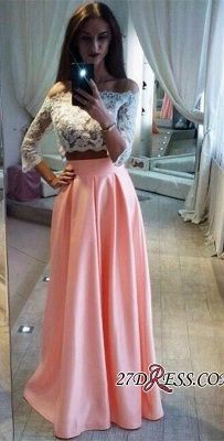 A-Line Pink Lace Sexy Off-the-Shoulder Two-Pieces Prom Dress UK_2