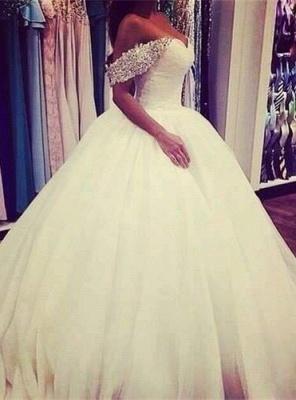 Elegant Tulle Ball Gown Wedding Dress Off-the-shoulder Crystals BA3316_1