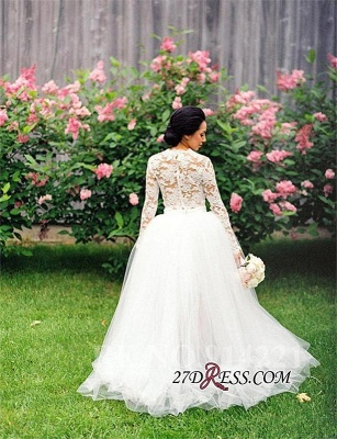 Hi-Lo Long Two Lace Piece Tulle Stunning Appliques Sleeve Wedding Dress_2