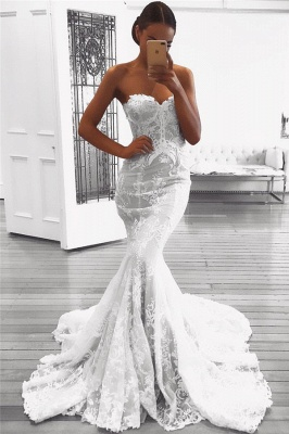 Sexy Mermaid Lace Wedding Dresses UK with Court Train | Strapless Cheap Bridal Gowns_1