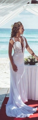 Modern Deep V-neck Sexy Mermaid Wedding Dress With Lace Appliques_3