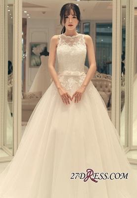 Sweep-train Elegant A-line Bow Lace-up Sleeveless Wedding Dress_3