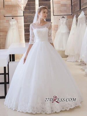 Stunning Lace-Up Princess Floor-Length Half-Sleeve Lace Wedding Dress_2