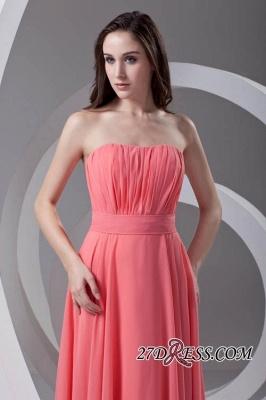 Chiffon Long Watermelon Ruched Strapless Sexy Bridesmaid Dress UK_2