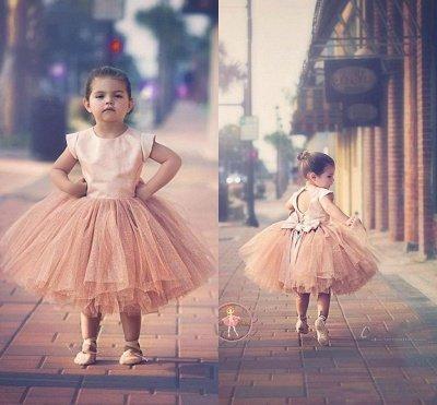 Lovely Cap Sleeve Tulle Princess Flower Girl Dress Bowknot_6