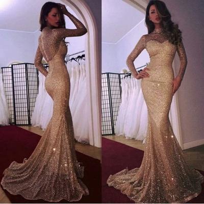 Gorgeous Long Sleeve Evening Dress UK   2019 Mermaid Prom Dress UK With Sequins_3
