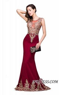 Appliques Sleeveless Lace Mermaid Sheer-Back Burgundy Long Evening Dress UKes UK_1
