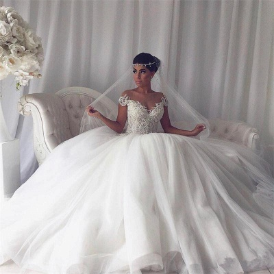 Princess tulle wedding dress, bridal gowns with beads_3