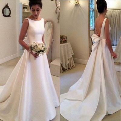 Elegant Scoop Neckline Wedding Dress | Backless Bridal Gowns_3