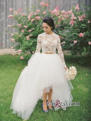 Hi-Lo Long Two Lace Piece Tulle Stunning Appliques Sleeve Wedding Dress_1