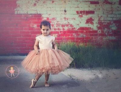 Lovely Cap Sleeve Tulle Princess Flower Girl Dress Bowknot_4