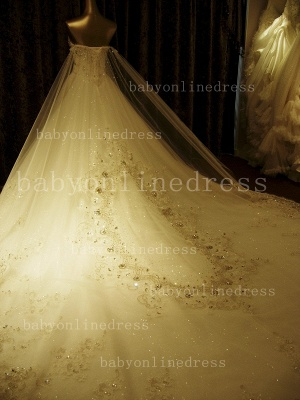Beads White Lace Wedding Dresses UK Wholesale Topped Sweetheart Lace Cathedral Train Gowns_4