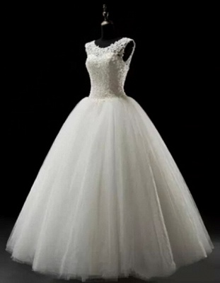 Simples A-Line Lace Wedding Dresses UK Lace-up Floor Length Bridal Gowns_1