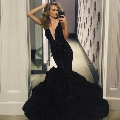 Elegant Black Prom Dress UK | Lace Appliques Mermaid Evening Party Gowns_3