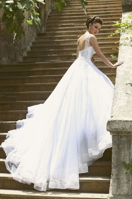 Delicate Strap Tulle Wedding Dress Beadss Appliques Ball Gown_5
