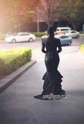 Deep-V-Neck Mermaid Long-Sleeves Lace Appliques Puffy Hi-lo Black Prom Dress UKes UK_2