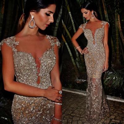 Luxury Cap Sleeve Mermaid Evening Dress UK Lace Sequins Appliques_1