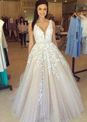 Luxury Sleeveless V-Neck Evening Dress UK Lace Appliques Tulle Online BA3252_1