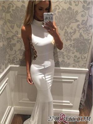 Mermaid High-Neck Sweep-Train Modern White Zipper Sleeveless Prom Dress UK BA5005_3