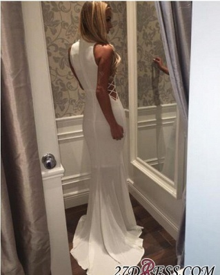 Mermaid High-Neck Sweep-Train Modern White Zipper Sleeveless Prom Dress UK BA5005_2