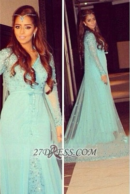 Gorgeous v-neck Long Sleeve Tulle Prom Dress UK With Beadings Crystals_1