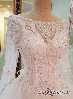 Sequins Lace Long-Sleeves Sweep-Train A-line Wedding Dress_2