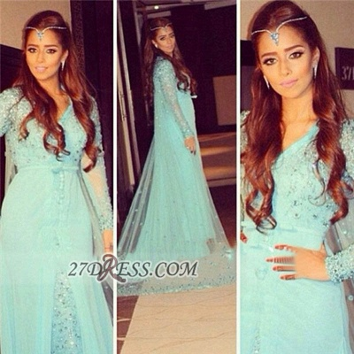 Gorgeous v-neck Long Sleeve Tulle Prom Dress UK With Beadings Crystals_2