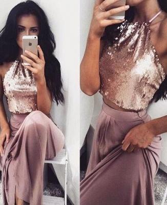 Long Halter-Neck Glossy Sleeveless Two-Piece Sequins Prom Dress UKes UK BA4434_2