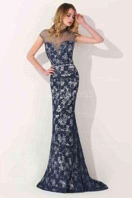Gorgeous High Neck Short Sleeve Prom Dress UK Mermaid Lace Long_2