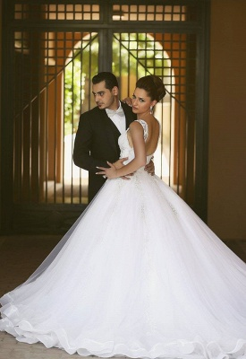 Delicate Strap Tulle Wedding Dress Beadss Appliques Ball Gown_2