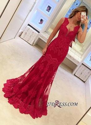 Elegant Sleeveless Red Mermaid Sexy Long Lace Evening Dress UKes UK BA3745_2