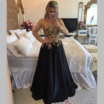 Lace Black Puffy Pearls Gold Long-Sleeves Appliques A-line Prom Dress UKes UK LY146_1