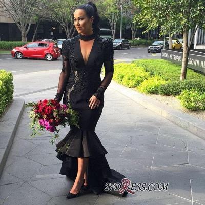 Deep-V-Neck Mermaid Long-Sleeves Lace Appliques Puffy Hi-lo Black Prom Dress UKes UK_1
