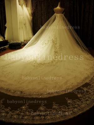 Beads White Lace Wedding Dresses UK Wholesale Topped Sweetheart Lace Cathedral Train Gowns_3