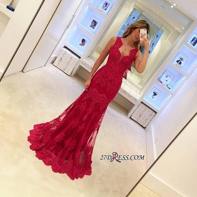Elegant Sleeveless Red Mermaid Sexy Long Lace Evening Dress UKes UK BA3745_1