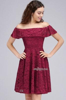 Sheath Burgundy Lace Short Off-the-Shoulder Homecoming Dress UKes UK_5