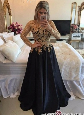 Lace Black Puffy Pearls Gold Long-Sleeves Appliques A-line Prom Dress UKes UK LY146_3
